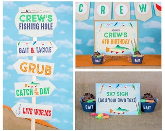 Fishing Party Signs - Instant Download Fishing Birthday Party Signs by Printable Studio