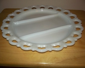 Large milk glass divided dish