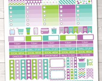 Instant Download Weekly Printable Planner Stickers for Vertical ECLP with Full Boxes Ombre Boxes Text Headers Digital Washi & Icons