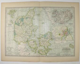 1899 Century Map of Denmark, Antique Denmark Map Iceland, Copenhagen Denmark Gift for Couple, Unique Gift for Traveler, Wanderlust Gift
