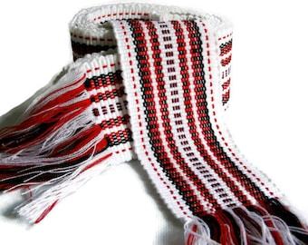 Ukrainian Woven Belt, Ethnic belt, Sash, White and Red Woven Sash, Slavic Folk Belt for vyshivanka, for vyshyvanka, to embroidered shirt