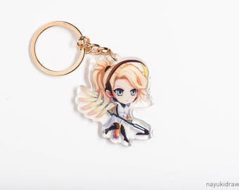 Overwatch Mercy Acrylic Charm Keychain Keyring Cute Girl Chibi Game Gamer Gift Fanart Fan Art Itabag Ita bag Blizzard Games Support Healer