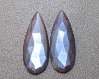 Chocolate Moonstone Chocolate Moonstone Cabochon Rose Cut Chocolate Moonstone Gemstone Size 14 x 34 x 5 mm Moonstone Pear Pair ET 5274