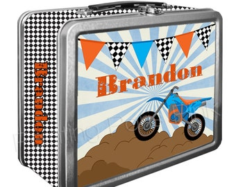Dirt Bike Classic Tin Lunch Box with or without Side Wrap | Back To School | Personalized | Image on Both Sides | Keepsake Box