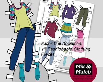 Paper Doll Fashions- Mix & Match Digital Paper Doll Clothing Download- Printable Paper Doll Clothing Set- Paper Doll Clothes- Dress Up Dolls