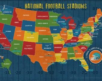 Football Stadium Art, Kids Room Decor, Football Map for Kids, Playroom Decor, NFL stadiums, Map poster for kids, USA map, Sports decor
