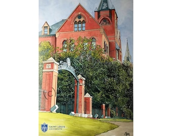 Saint Louis University LIMITED EDITION Pen and Ink and Watercolor Art Print Illustration by John Stoeckley
