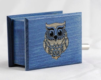 Owl decor custom blue music box own individual or optional music