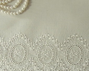 1yard Embroidery Cotton Eyelet Lace Trim Cream Ivory #319