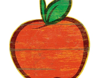 Faux Apple Farm Stand Wood Look Wall Decal Apple Wall Decal #44261