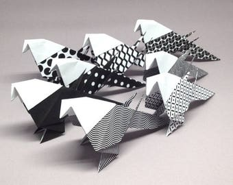 Set of 8 black and white graphic pattern origami birds