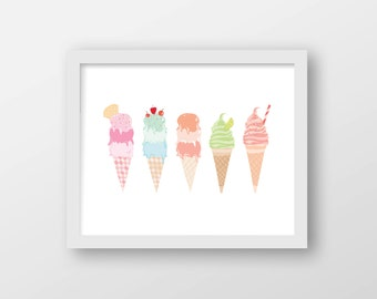 Ice Cream Art Print - Wall Art - Office Decor - Home Decor