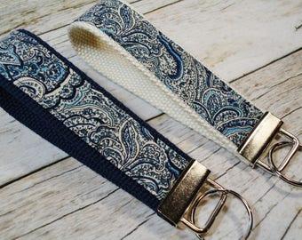 Paisley Key Fob, Wristlet, Key Chain, Blue Fabric Key Fob, Keychain, New Driver Gift, Favors