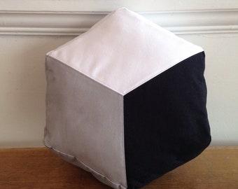 Cube cushion, Hexagon cushion, Geometric design pillow, Colour block cushion, Cotton cushion, Handmade