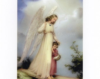 Art Print: Guardian Angel With Child, Hand-Embellished.