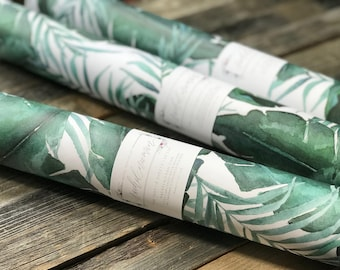 "Greenery Gift Wrap Sheets | Watercolor Wrapping Paper | Palm Leaves | 20""x29"" 