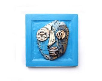 3D wall art, Crazy face, Abstract ceramics, Wall sculpture, Blue sculpture, Blue face, Blue mask, Assemblage art, 99heads