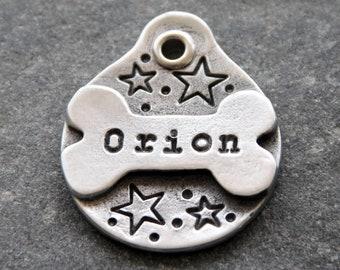 Star Dog Collar Tag - Dog id Tag - Small pet ID tag - dog ID tag - Custom pet id tag - Custom Dog Tag - personalized Pet Tag - Pewter