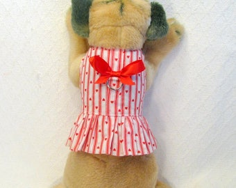 Red Hearts and Stripes Dog Harness Dress Size XXSmall Teacup