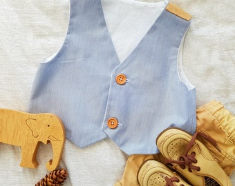 Toddler boys waistcoat vest, navy blue and white stripe, photo prop, wedding, ring bearer, boys smart clothing Ready to ship size 3,4yrs