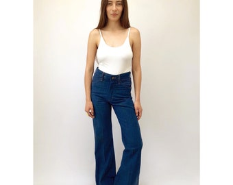 Dazed & Confused Bell Bottoms // vintage 70s denim blue jeans boho hippie bottom dress high waist hippy cotton 1970s // XS/S