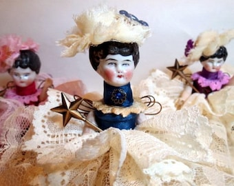 "Assemblage Angel ""Blue and Ivory""  Assemblage Art Doll, Antique Doll Parts, Vintage Style Art Doll"