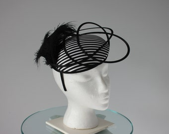 """Black and White Kentucky Derby Fascinator - """"Striped and Sassy"""""""