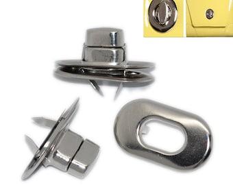 Twist Lock, Turn Lock, Twist Clasp, Purse Hardware, Nickel Twist Lock, Silver Tone - Set of 5 -FREE SHIPPING