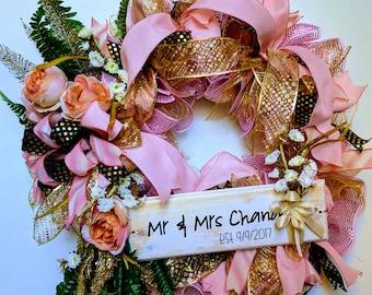 Wedding wreath, Newlyweds wreath, Husband & Wife wreath, custom floral wreath, pink gold wreath
