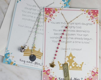 Personalized Hand Stamped Bar with Rosary Chain and Crown Charm Delicate  Gold plated brass chain with beads