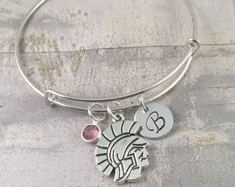 Personalized Mascot Bracelet, Gladiator Charm bracelet, Graduation Bracelet, College charm, MSU Spartans Charm, High School Mascot Charm