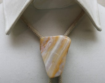 Soft Beige Banded Agate Bolo Tie, Vintage Agate Bolo Tie,