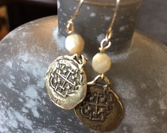 Natural Mother of Pearl with Bronze Spanish Reale Coin Reproduction charm earrings on Gold Filled wires.