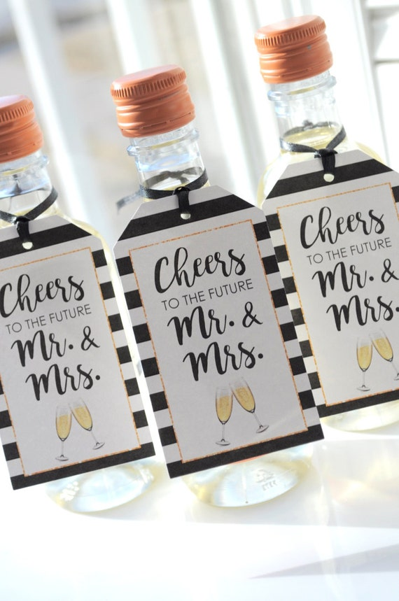 Wedding Favor Tags Bridal Shower Favors Mini Champagne Tags