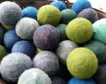 Wool Dryer Balls, set of 6 Trees and Seas, Free Shipping To USA