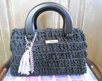 Purse black hand crocheted recyclestyle t-shirt material