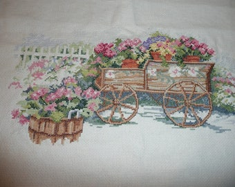 Summer Dreams Flower Cart Counted Cross Stitch Handcrafted Piece