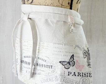 Women's Half Apron - French Script Apron - Paris - Fleur de Lis - Eiffel Tower - Waitress Apron - Vendor - White Black - Pink