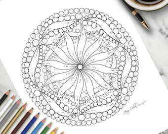 Printable Colouring Page Twisty Zentangle