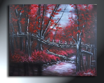 Red Painting Forest Landscape Original Artwork 24 X 30 Sherry Arthur