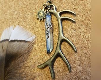 Bohemian Antler and Mystic Blue Titanium Quartz Rustic Necklace - Antique Bronze Antler and Sun Totem Charms