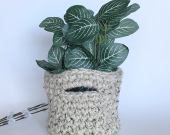 Home Decor Basket, Crochet Basket, Storage Basket, Crochet Bowl, Nursery Basket, Planter Basket, Basket with Handle