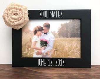 Soul Mates Date Picture Frame, Wedding Picture Frame