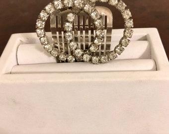 Vintage Rhinestone Hair Clip-Vintage Rhinestone Jewelry-Vintage Jewelry-Hair Accessories-Silver hair Comb-Bridal Jewelry
