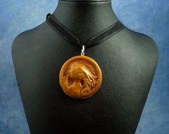 Brass Cthulhu Cameo Necklace, Handmade Polymer Clay Jewelry