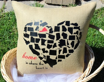 Home is Where the Heart is State Pillow