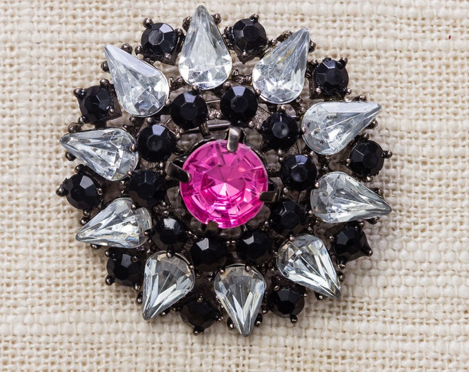 Stunning Black and Pink Brooch Sun Burst Pear Shaped Rhinestone Statement Vintage Broach Pin 7YY