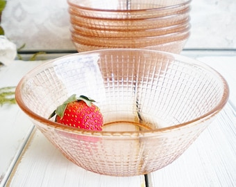 Pink Berry Bowls Set Of 6 Pink Depression Glass Dessert Bowls, Candy Dishes, Art Decor Style, Ice Cream Bowls, Wedding Tea Party