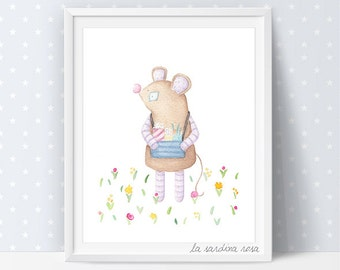 Kids room wall art, Circus art prints, mouse illustration, Circus Animals, Kids room decor, Circus nursery art