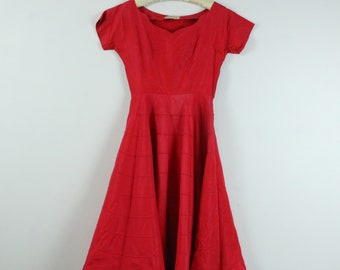 Red Square Dance Dress. Full Skirted Deep Red Dress